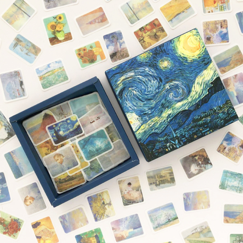 200pcs/pack Van Gogh Starry Sky Bullet Journal Decorative Washi Stickers Scrapbooking Stick Label Diary Stationery Album Sticker