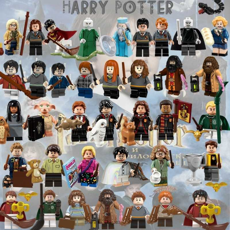 Movie Figures Magic School Harry Hermione Ron Dumbledore Voldemort Malfoy Dobby Luna Building Blocks Set Toys Gifts For Children