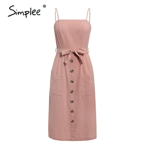 Image 5 - Simplee מקרית ספגטי רצועת קיץ שמלת שיק מוצק כפתורי חגורת נקבה כותנה שמלת חג חוף גבירותיי כיסים מקסי שמלה