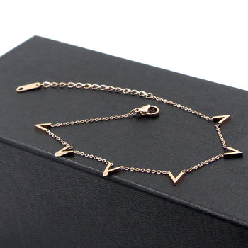 Fashion Jewelry 6 V Letter Rose Gold Anklet Titanium Steel Foot Chain Woman Jewelry Anklet Length 20cm + 5cm 5