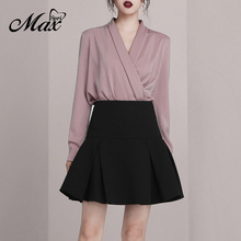 Max Spri Office Lady Fashion V-neck Long Sleeve Wrap Shirt Top High Waist A-line Mini Skirt 2019 New Women 2-Pieces Sets Suits