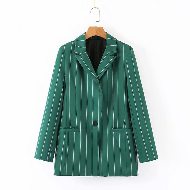 Fashion 1pcs Womens Blazers 2019 Autumn New Striped One Button Suit Straight Casual Trousers Blazer Mujer Blaser Feminino New