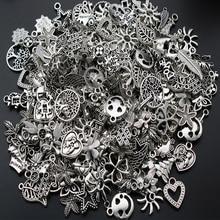 30 шт тибетский серебряный смешанный стиль лист Сердце Ключ Корона Подвески DIY ювелирные изделия для изготовление браслета ожерелья Аксессуары