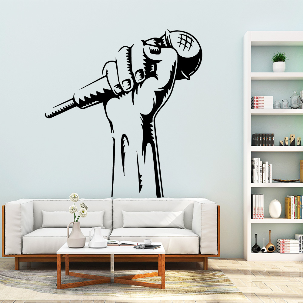 Carved Microphone Music Removable Pvc Wall Stickers Decor Living Room Bedroom Removable Mural Poster