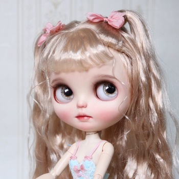 ICY 19 joint blyth doll with makeup face white skin Golden Wool curls Fairy big eye girl makeup doll