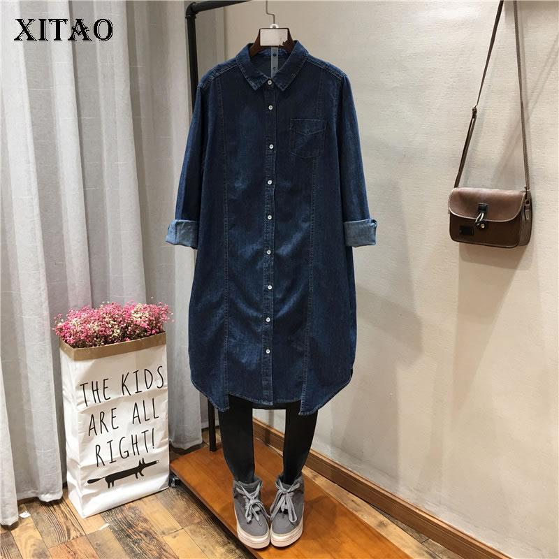 XITAO The Van Women Fashion New 2019 Spring Turn down Collar Full Sleeve Long Shirt