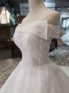 Image 5 - BGW HT5622 סטרפלס חתונת שמלות Boho כבוי כתף מחוך לבן מבריק שמלות כלה עם רכבת אופנה חדשה Vestidos דה Novia
