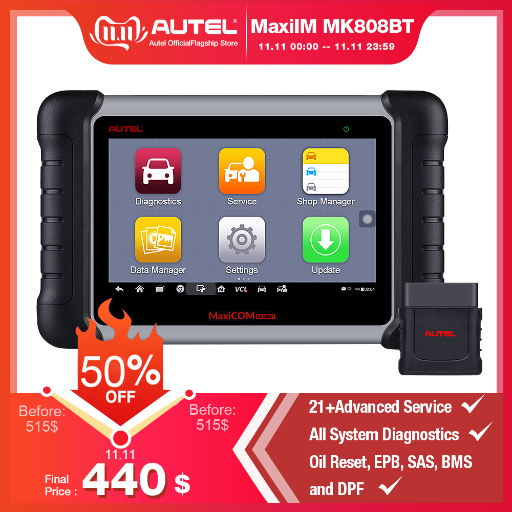 Autel MaxiCOM MK808BT Diagnostic Scan Tool with All System Diagnosis and 21 Services IMMO Oil Reset EPB BMS SAS DPF ABS