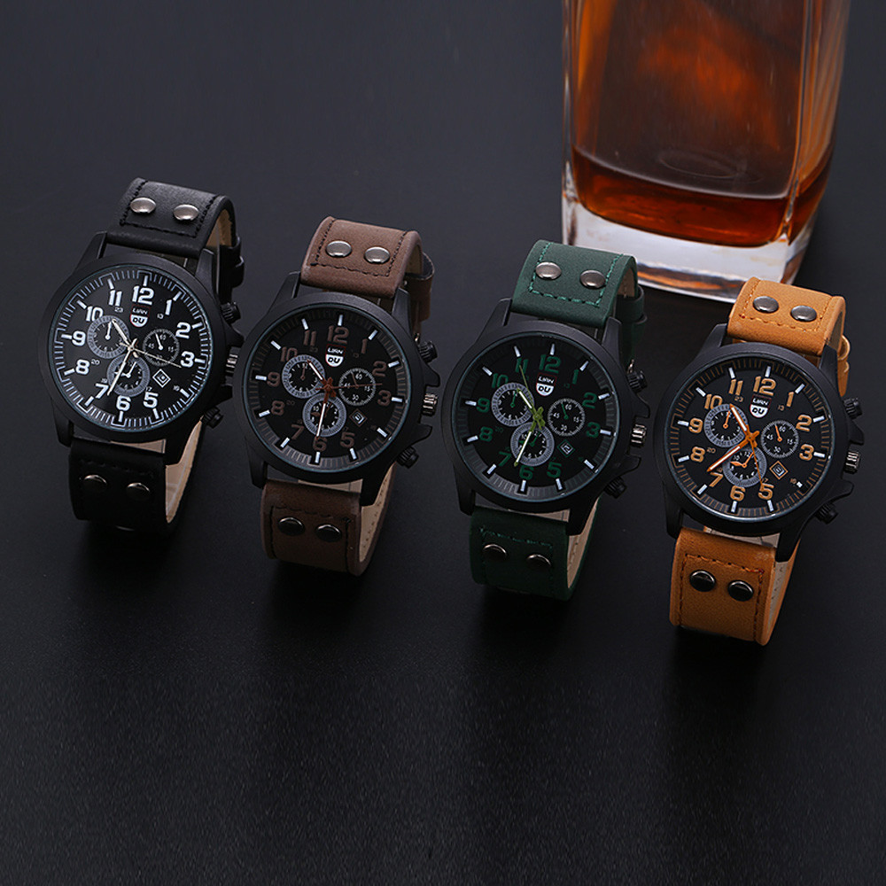 CURDDEN Watch Men's watches luxry watch for men Military Leather Waterproof Date Quartz Analog Men's Quartz Wrist Watches 2021