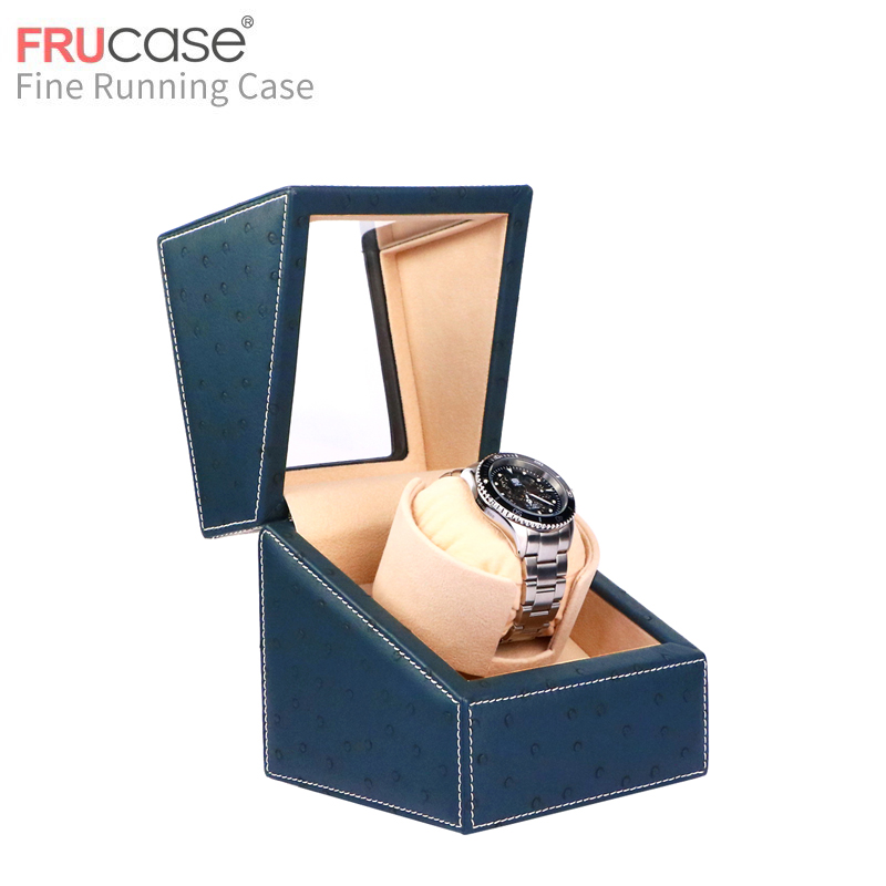 블루 타조 피부 pu 시계 와인 더 자동 시계 자동 단일 시계 상자 보석 시계 표시 상자-에서시계 박스부터 시계 의  그룹 1