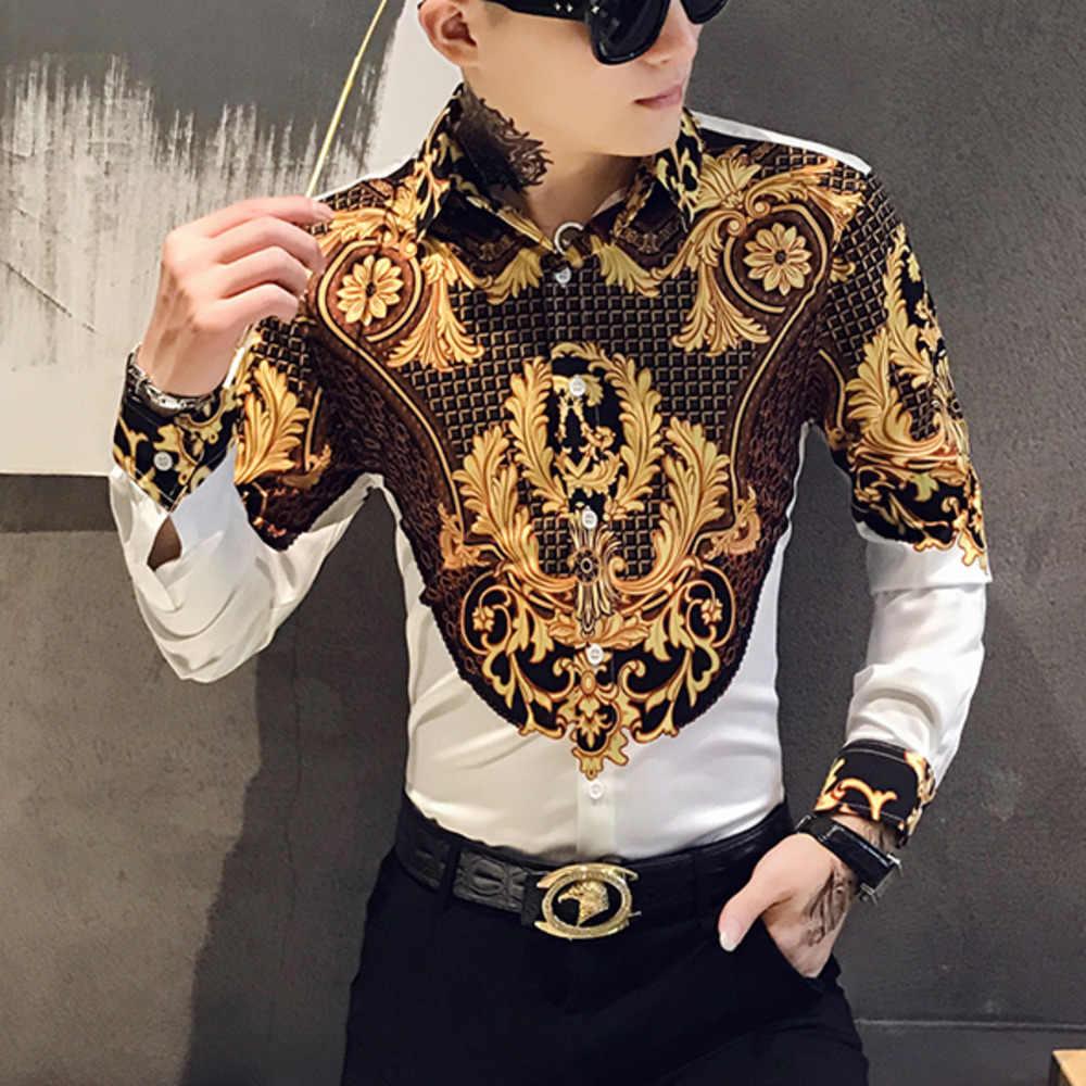 Camisa de lujo con estampado de oro para hombres camisas de manga larga retros para fiesta esmoquin para discoteca Camisas Casual ajustada blusa de calle Homme