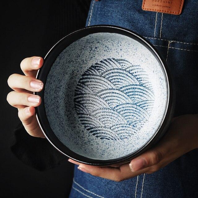 RUX atelier bol à riz japonais en céramique   Céramique bol Ramen, bol à salade nouilles bol à soupe Restaurant cuisine vaisselle de cuisine décoration de la maison