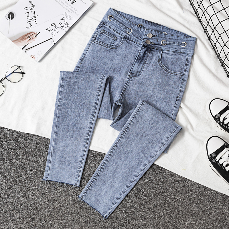 Autumn Korea   Jeans   Stretch Black   Jeans   Female Slim Skinny High Waist Ring Nine Points Feet Pants 2019 Solid Color Woman   Jean