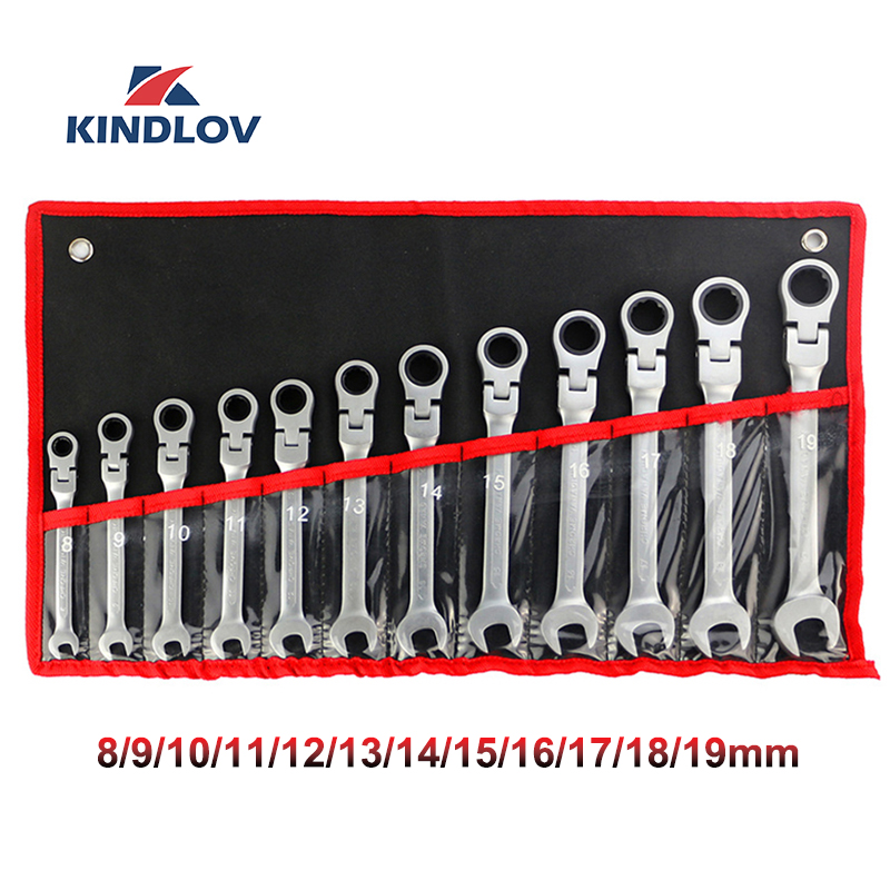 KINDLOV Wrench Set Ratchets 7/12 Pcs Adjustable Wrench Universal Key 8-19mm A Set Of Ratchet Spanner Multitool Repair Hand Tools