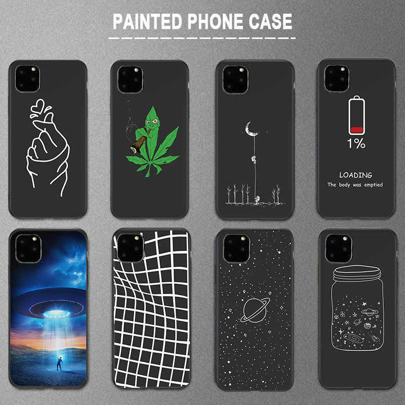 Lovebay Silicone Black Cover Phone Case For iPhone 11 Pro X XR XS Max 7 8 6 6s Plus 5s SE Art Funny Space Stars Soft Back Shell
