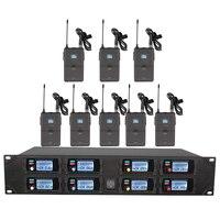 ميكروفون لاسلكي مهني نظام UHF 8 قناة تردد ثابت عرض ديناميكي ميكروفون لاسلكي lavalier