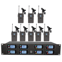 Professional wireless microphone system UHF 8 channel fixed frequency dynamic display lavalier wireless microphone