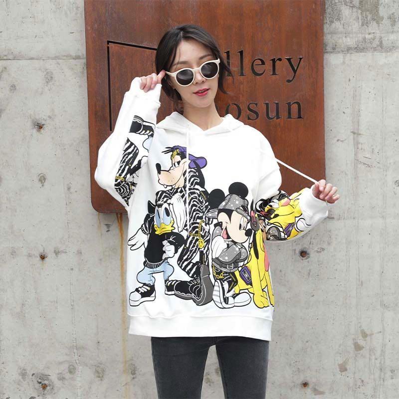 2020 Spring New Style Hoodie Women's Hooded Versatile Cartoon Printed Hoodies Loose Fashion Female Sweatshirts
