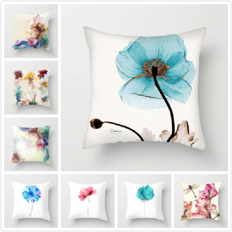 Fuwatacchi Floral Pattern Cushion Cover Hazy Style Flowers Pattern Pillowcases Waist Throw Pillows Cover Home Sofa Decorations