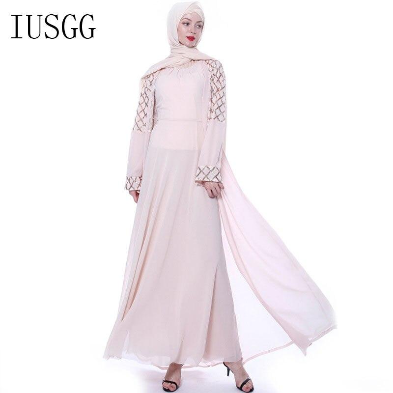 Abaya Kimono Muslim Cardigan Muslim Open Abaya Dress Elegant Sequin Cardigan Robes Turkish Islamic Prayer Clothing  Muslim Dress