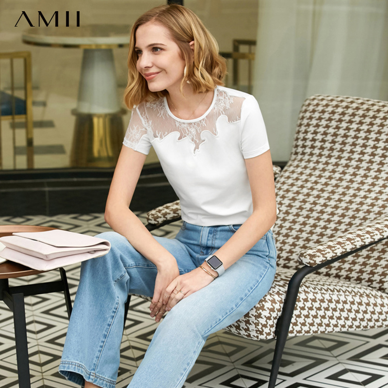 Amii Minimalist Summer Sexy T-shirt Women Perspective Lace Solid Round Neck Short Sleeve Fashion Female Tee Tops 11920051