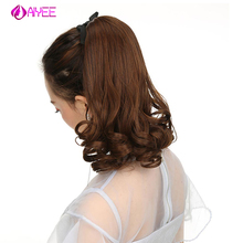 AIYEE 10 Inch Short Curly Clip In Drawstring Ponytail Synthetic Ponytail Hair Extensions Pure Color High Temperature Fiber Hair [delice] 16 inches women s high temperature fiber synthetic hair curly ponytail piano color 90g piece