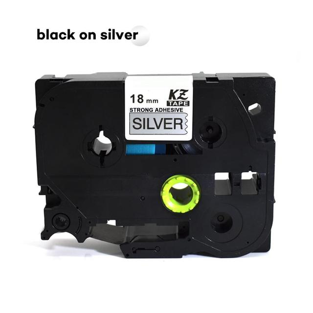 CIDY 30 pièces pour Brother tze-S941 adhésif fort 18mm noir sur argent pour Brother p-touch étiqueteuse tze-241