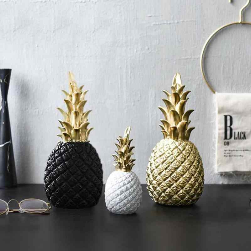 Creativity Modern Pineapple Ornament Synthetic Resin Individual Metal Finishes Living Room Desktop Craft Home Decoration Gift