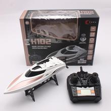 цена на Speedboat H102 High Speed 28km/h 2.4G RC Electric Racing Boat Outdoor White Racing Remote Control Boat For Kids Toys Gift
