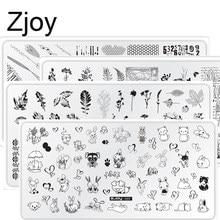 Placas para estampado de uñas (Zjoy01-60), para diseño de Nail Art, flores y adornos, esmalte de uñas, Juego de 3