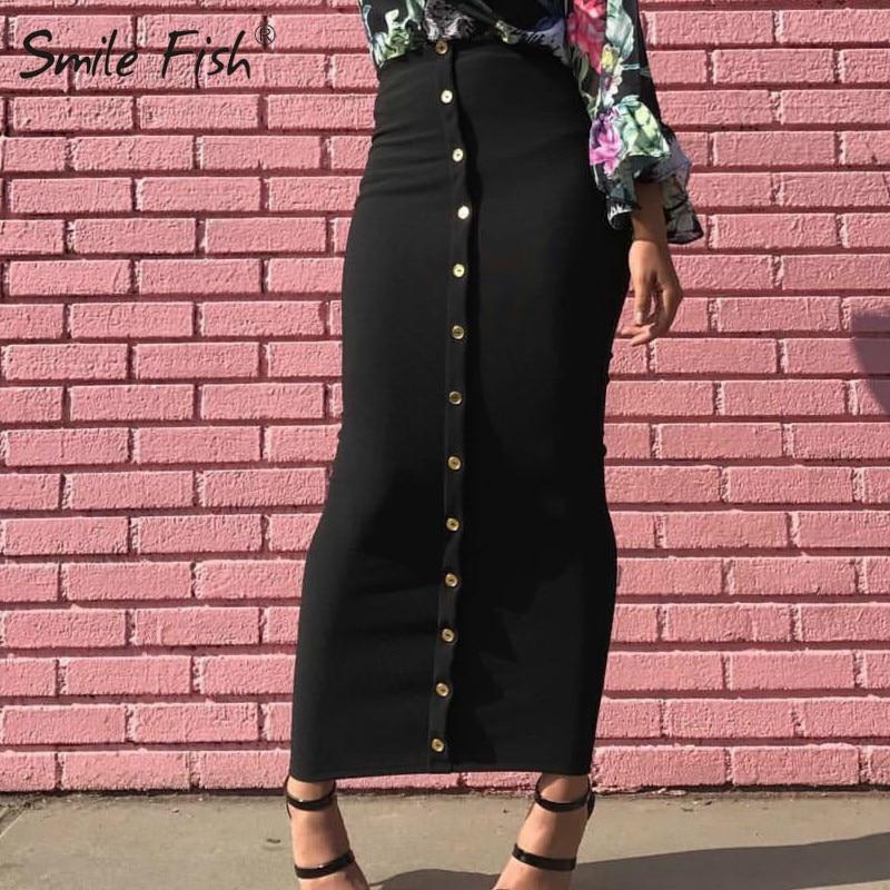 Winter Autumn Skirts High Waist Muslim Buttons Bodycon Sheath Long Skirt Women Solid Femme Pencil Skirts Streetwear GV799
