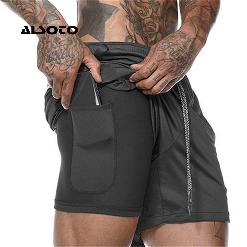 Casual Shorts Cool Workout Bodybuilding Gyms Fitness Quick-Dry Mens New 2-In-1