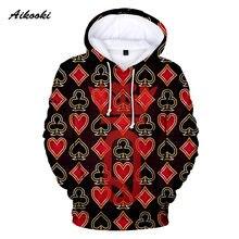 Design criativo rei rainha hoodies moletom moletom com capuz 3d engraçado jogando cartas poker menino/menina pullovers moda roupas