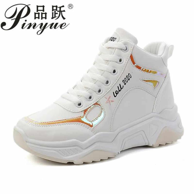 Yeni gizli topuklar kama platformu ayakkabı kadın rahat dantel kalın alt yürüyüş ayakkabısı kadın kaymaz beyaz Sneakers Mujer