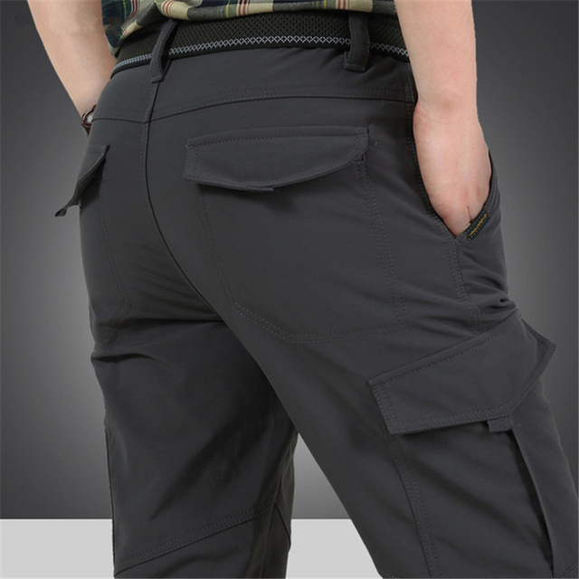 Men's Cargo Stretch Pants Winter Thick Warm Soft Shell Fleece Loose Trousers Shark Skin Army Military Tactical Waterproof Pants 3