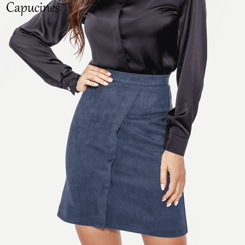 Fashion High Waist Suede Skirt Autumn Winter Sexy Mini Women Skirt Ladies Casual Slim A-Line Solid Faux Leather Skirts image