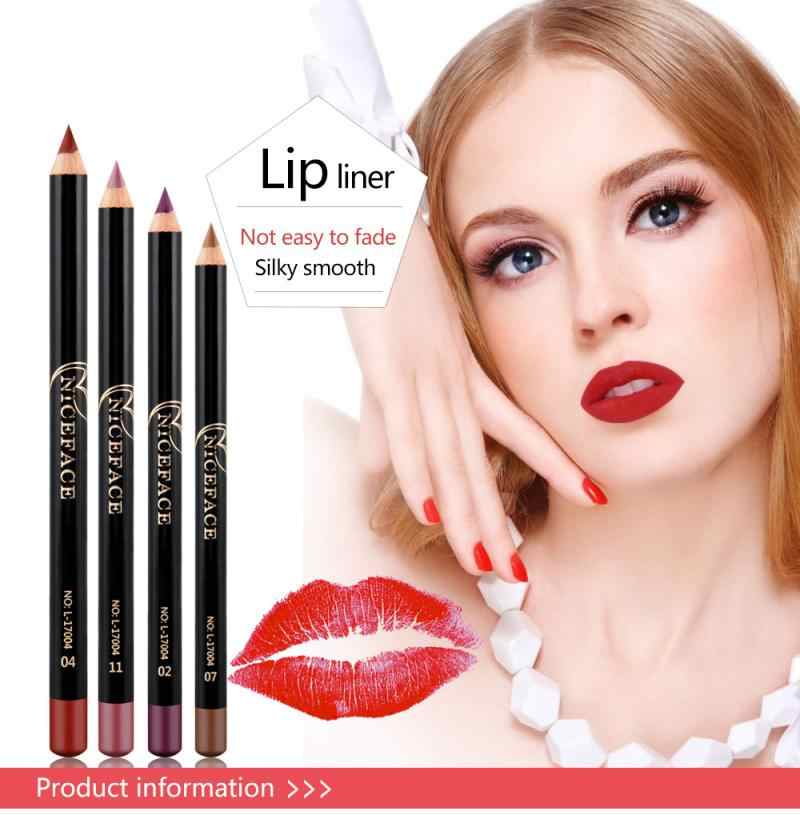 12 Warna Fashion Seksi Bibir Pensil Matte Lip Stick Lipliner Pensil Tahan Air Telanjang Tongkat Bibir Tahan Lama Pigmen Makeup Bibir TSLM1