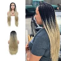 Rubio degradado trenzas peluca con malla frontal sintético negro a rubio Micro trenzado pelucas fibra resistente al calor maquillaje pelucas para mujeres 26