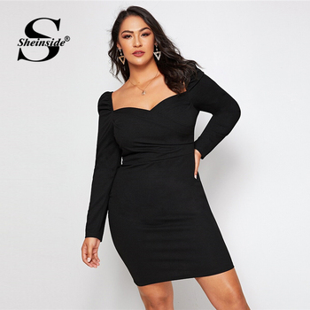 Sheinside Plus Size Black Elegant Sweetheart Neck Pencil Dress Women 2019 Autumn Puff Sleeve Bodycon Dresses Ladies Midi Dress