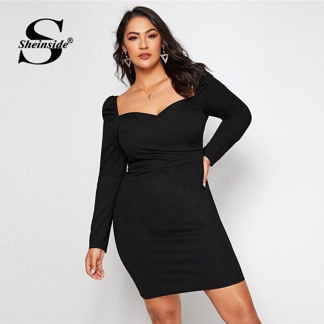 Sheinside Plus Size Black Elegant Sweetheart Neck Pencil Dress Women 2019 Autumn Puff Sleeve Bodycon Dresses Ladies Midi Dress