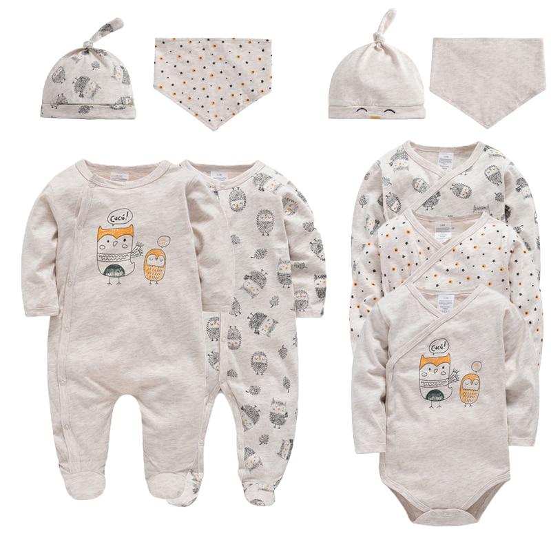 Honeyzone Infant Girls Boys Jumpsuits Bodysuit 9pcs Cartoon Print Bamboo Cotton New Born Baby Sets With Long Sleeves 0-9M