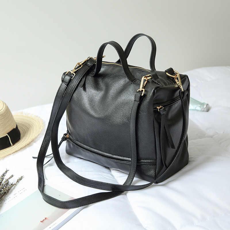 Ougger Médio Bolsas de Alta Qualidade Sacos de Ombro Saco Preto PU Travesseiro Boêmio para o Negócio