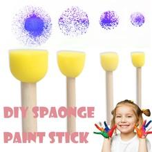 4 sztuk DIY dzieci gąbka pędzle malarskie Stick narzędzia do rysowania malowanie Montessori dziecko edukacyjne rysunek zabawki urodziny prezent tanie tanio MUQGEW Drewna Drawing Toys Unisex Paint Brushes Stick D 8 lat