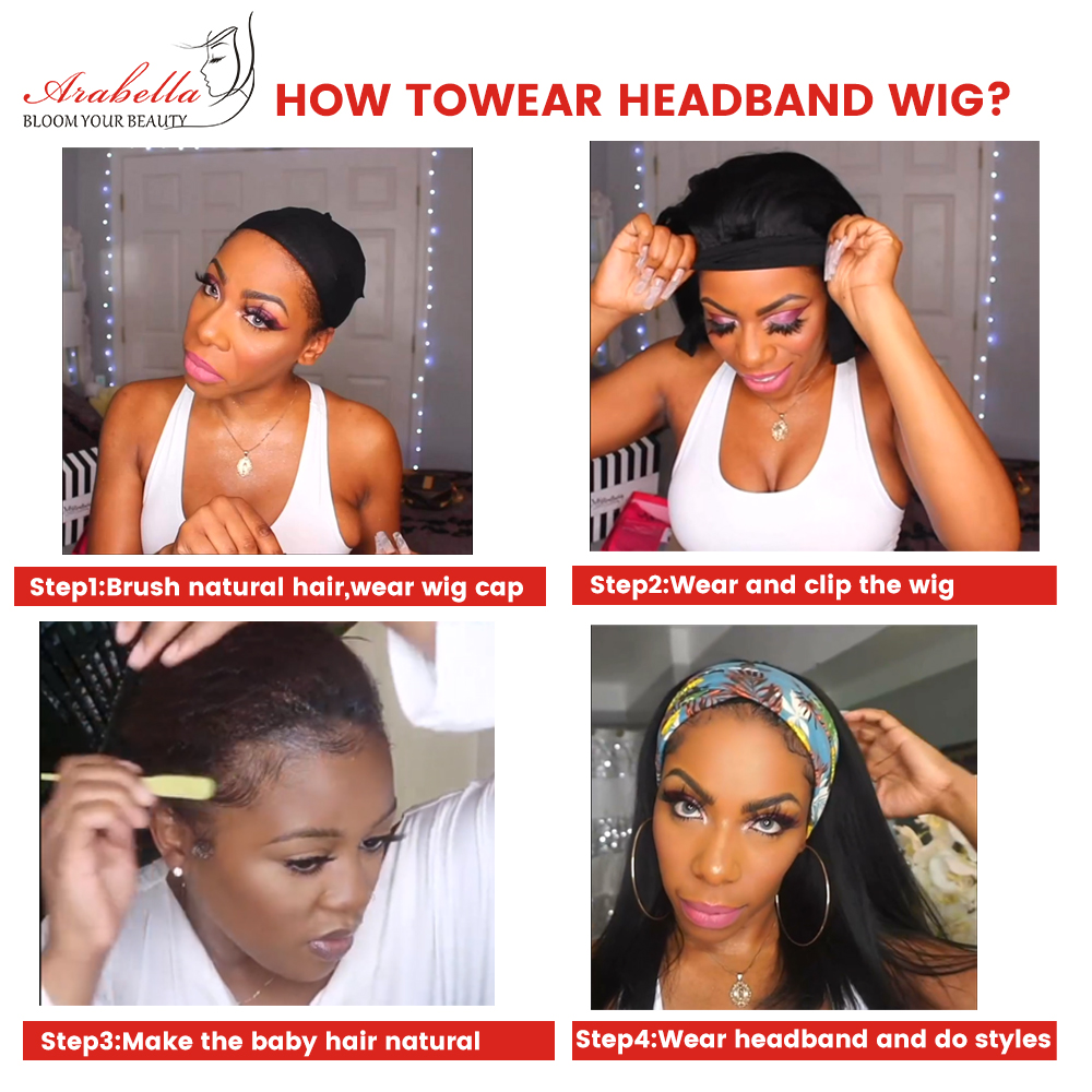 Headband Wig   Straight U Part Wig    Arabella Glueless Wig Headband Machine Wig 4