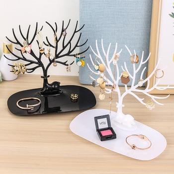 Pendientes de ciervo negro rosa blanca y rosada, collar, anillo, pendiente pulsera joyería, cajas y soporte de exhibición, bandeja de almacenamiento de árbol, joyería