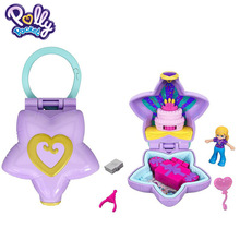 Orijinal Mattel Polly cep bebek giyilebilir çanta kompakt kızlar ev oyuncaklar çocuklar için Mermaid çocuk yuvalama yeniden doğmuş bebek kız
