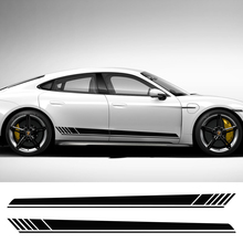 2pcs 220x14cm Auto Side Body Sports Racing Long Stripe Car Stickers Vinyl Wrap Decals DIY Sticker Automobiles Car Accessories
