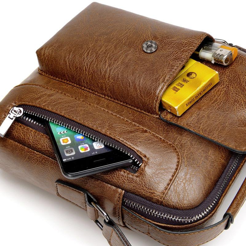 Casual Men Shoulder Bag Vintage Crossbody Bags High Quality Male Bag PU Leather Handbag Capacity Men Messenger Bags Tote Bag 6