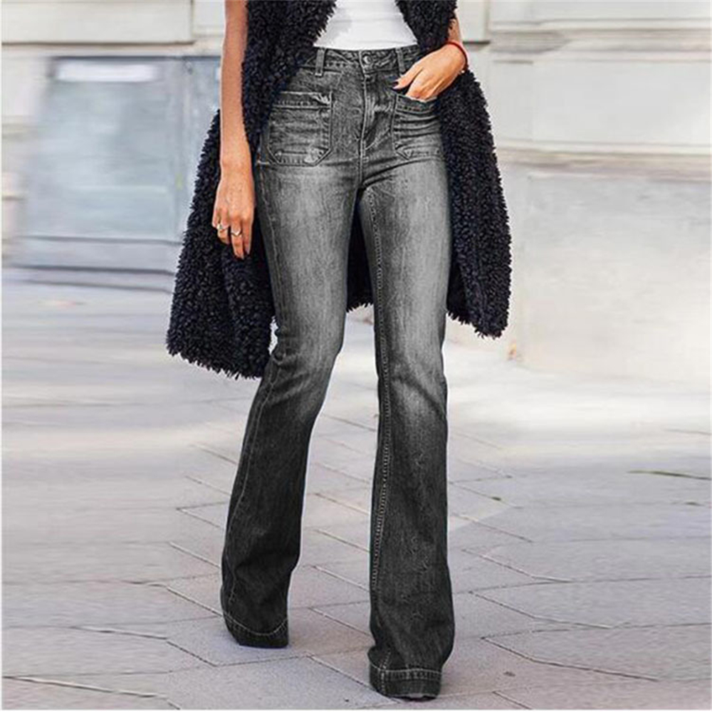 Plus Size 4XL Fashion High Waist Flare Jeans Women Bell Bottom Denim Ladies Skinny Jeans Retro Female Wide Leg Pants Trousers