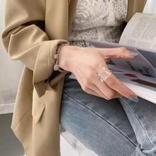 AOMU ahuecado Cierre de palanca anillos trenzados Cadena de plata círculo barra Anillos geométricos para las mujeres minimalista anillo joyería 2020